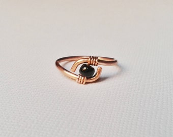 Natural copper, copper and copper ring, Pearl, Pearl black glass