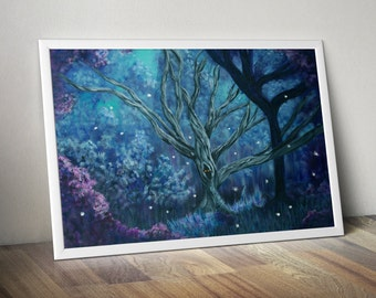 "Mystical Endeavours 11"" x 14"" Fine Art Print, Forest, Woods, Fireflies, Outdoors, Nature, Fantasy, Tree, Painting,Artwork, Fine Art"