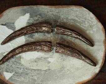 GAUGE EARRINGS Brown Crescent Moon Earrings Fake Gauges fake horn