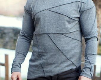 grey asymmetric mens Blouse/grey mens shirt/grey casual mens blouse by Adrenaline