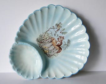 Vintage, Nut Dish, Serving Tray, Platter, Kitchen and Dining, Blue, Ceramic, Dish, Squirrel Decor, Scallop Shaped