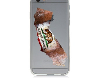 iPhone - Samsung Galaxy - TPU Soft Rubber Cell Phone Case - California Map - High quality Soft Silicon -Designed and Printed in USA