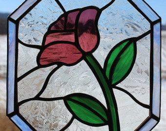 Stained glass purple flower suncatcher