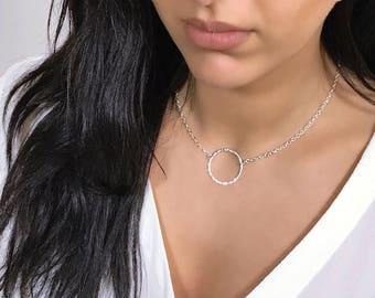 BIANCA Circle O Ring Chain Karma Necklace Choker Silver Gold