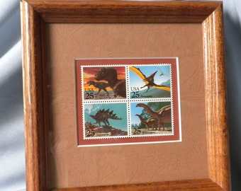Dinosaurs Stamp Set, block of four, in wood frame