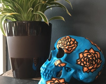Electric Blue and Orange Hand-Painted Skull Decor