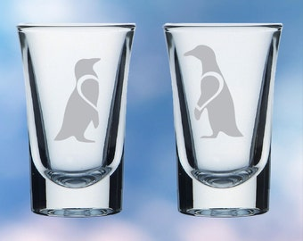 Set of 2 penguin shot glasses - love heart - permanently etched - Perfect gift
