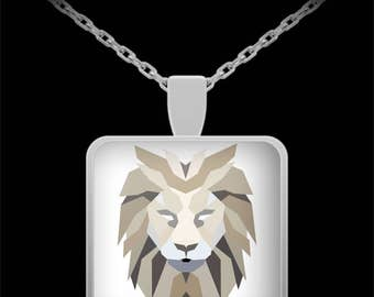 Lion Head Necklace - Lion Necklace  - Abstract Animal Art - Best Gift for Women, Men - 22in Chain - Mother's Day Gift - Father's Day Present
