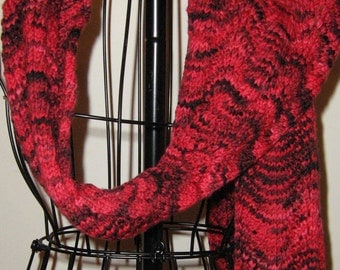 Red Ombre Extra Long Hand Knit Merino Scarf