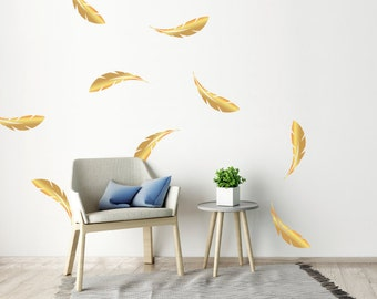 10 Large Gold Metallic Feather Wall Stickers, Patterns, Nursery Wall Decals, Home Vinyl Wall Art Decor, Wallpaper