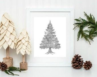 Oh Holy Night Sign, Christmas Printable, Festive Home Decor, Rustic Christmas Decor, Christmas Tree Decor, Holiday Home Decor, Xmas Decor