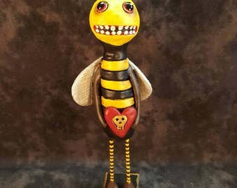 Bumble Bee Halloween Folk Art 8""