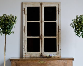 NOW SOLD - Pair of Antique French Architectural Industrial Mirrored Window Frames