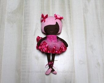 SALE Ballerina Doll, Cloth Doll, Rag Doll, Soft Doll, Baby Doll, Handmade Doll, Fabric Doll, African American Doll, Girl Gift, Handmade