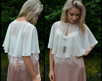 Wedding capelet cover-up - 'Dora' - Sheer capelet. Great for brides, mother of the bride, or adding modesty. Coverage without heaviness.