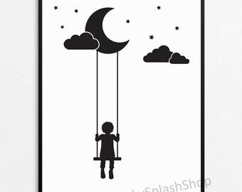 Black and white Nursery print. Modern Kids room poster Scandinavian nursery decor. Moon Stars Clouds Swings Child bedroom wall art printable