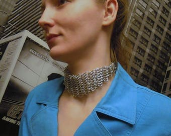 Chain mail Choker - Chainmaille - Warrior - Metal choker - Vengeance - Woven -Metal necklace- Medieval -GOTH - Fantasy