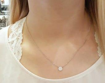 Diamond Circle Necklace, Silver Dot Necklace / Delicate, Dainty Necklace / CZ Silver Pave Disc necklace / Elegant necklace.