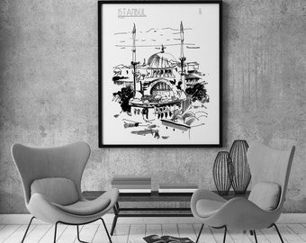 Istanbul View Original Drawing Hagia Sophia Turkey Travel Journey Mosque