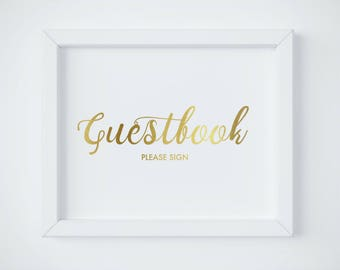Wedding Guest Book Sign, Gold Guest Book Please Sign, Guestbook Sign Decoration, Gold Wedding Guestbook Sign, Guestbook Sign Printable PDF