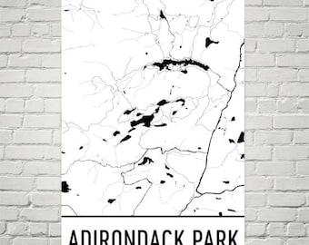 Adirondack Decor, Adirondack Poster, Lake Art, Adirondack Mountains, New York Lake Map, Lake Map, Lakes, Adirondack NY, Boating, Fishing