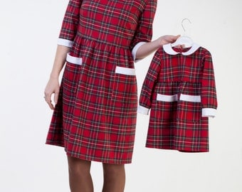 SALE Mother daughter red plaid dress Mother daughter matching dress Mommy and me party outfit  Mommy and me matching christmas dresses