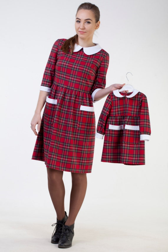 Vintage Style Children's Clothing: Girls, Boys, Baby, Toddler Mother daughter red plaid dress Mother daughter matching dress Mommy and me party outfit  Mommy and me matching tartan dress white collar  AT vintagedancer.com