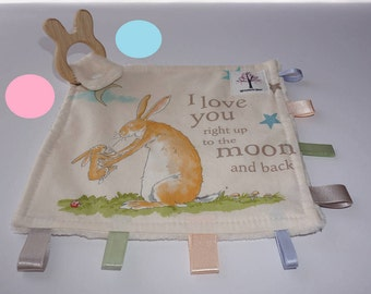 I love you to the moon and back, Rabbit sensory/taggy teething blanket with organic wooden rabbit teething ring