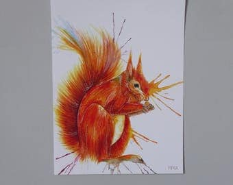 A4 Red Squirrel Watercolour Painting Print - 170gsm