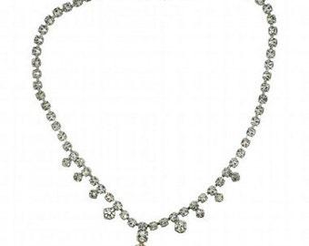 Bridal Necklace 1960's Silver Tone Rhinestone Diamante Vintage Necklace