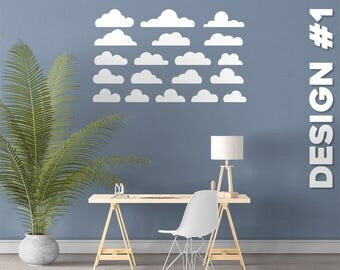 Clouds - 5 Designs - Vinyl Wall Decals - Multiple Colors