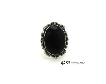 Ring, silver, cabochon, black, adjustable, adjustable, goth, gothic, birth, victorian, gift, christmas, woman