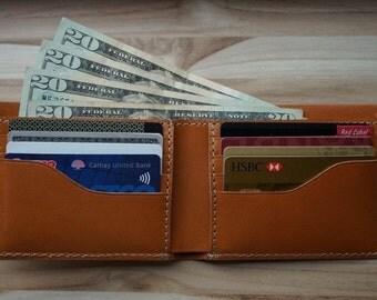 Leather Bi-Fold Wallet; Mens Wallet; Italian Vachetta Leather; ALL CURRENCY; Mens; Gift Season! Complimentary Monogram!