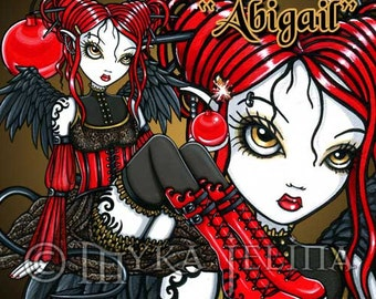 "Myka Jelina PSP tube of ""Abigail"" a red gothic fairy with a cherry bomb."