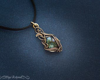 Wire wrapped pendant Gold pendant Labradorite necklace brass pendant Wire wrap jewelry gift for her OOAK