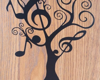 Tree - note of music - vinyl - wall decal
