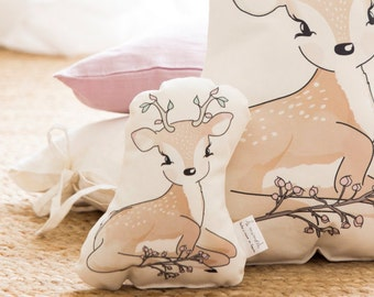 Baby rattle, Decorative Nursery Pillow, baby pillow, Fawn nursery pillow, kids pillow, woodland nursery decor, crib pillow, baby shower gift