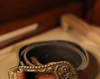 90s belt true vintage Brown cowboy Cowgirl Western boho leather metal buckle 72 x 2.8