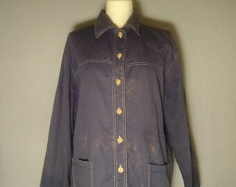 True vintage 80's denim shirt 46/48 denim jacket jeans Blau shirt retro