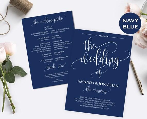 Wedding Program Template Download - Navy Blue Wedding Decorations - Wedding Program Printable Template - Downloadable wedding #WDH0123
