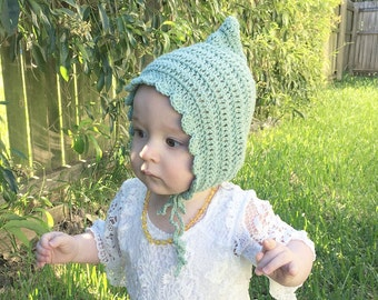 Made to order - limited edition pale green pixie bonnet