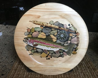 RAINBOW TROUT on the ROCKS - woodburning art - pyrograghy - wood burning - watercolor - fish