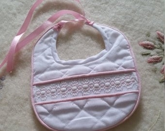 Hand Made Smocked Baby Bib
