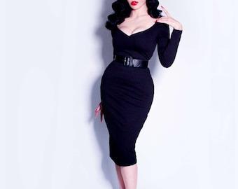 IN-STOCK - Black Marilyn Dress - La Femme en Noir
