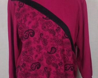 Magenta & Black Paisley Sweatshirt, Asymetric, Alfred Dunner, Vintage L