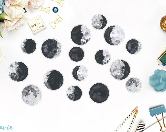 Moon phases stickers, 16 pcs