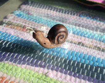 Wooden snail pendant