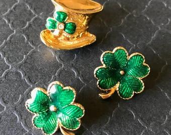 Vintage Avon Lucky Four Leaf Clover Earrings Pin Set, Green Enamel Shamrock Earrings and Leprachaun Hat Pin Set, St. Patrick's Day Jewelry