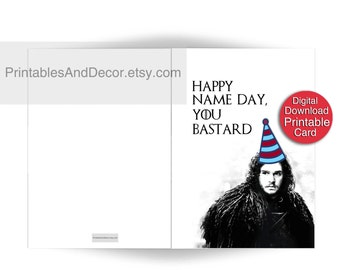 PRINTABLE Game of Thrones Birthday Card Printable Jon Snow Card Name Day Card Printable 5x7 Folded Funny