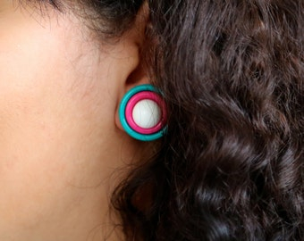 Free Shipping: Vintage 1980s/1990s Teal Hot Pink and White Interchangeable Post Button Earrings
